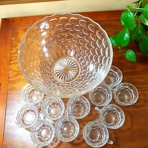 Punch Bowl Set, Vintage, w/11 Cups